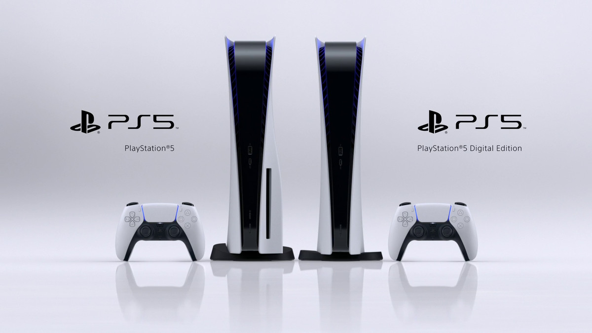 product renders of the PlayStation 5 (left) and PlayStation 5 Digital Edition standing next to each other, with a DualSense controller on either side