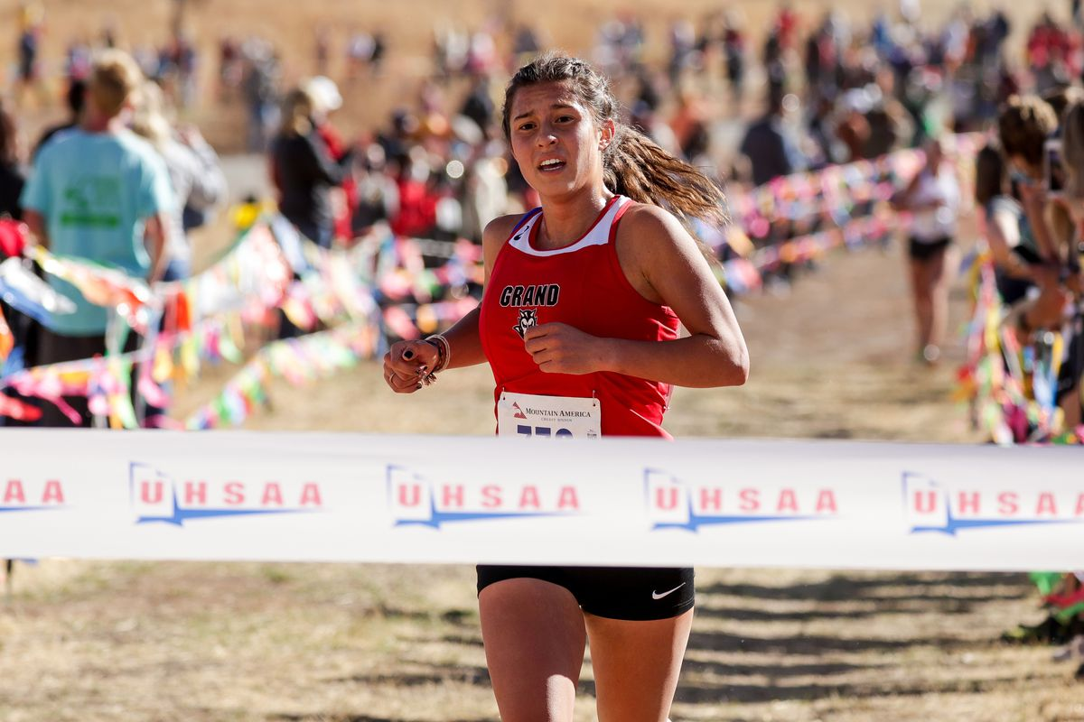 Kylah Ricks of Grand County takes first place in the 3A girls state cross-country championship race at Soldier Hollow in Midway on Thursday, Oct. 22, 2020.