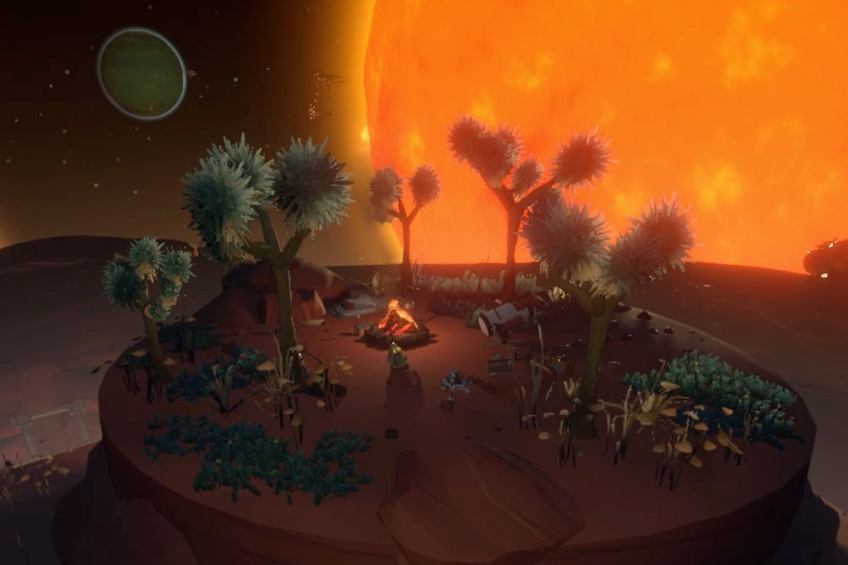 Outer Wilds guide for the Ember Twin Chert's Camp, quantum caves, and Lakebed Cave