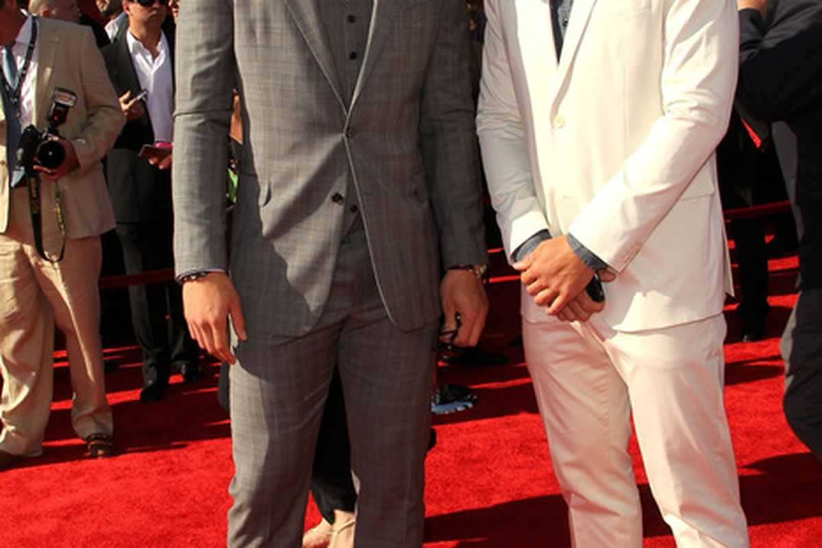 LOS ANGELES, CA - JULY 13: (L-R) NBA player Blake Griffin and brother Taylor Griffin  arrives at The 2011 ESPY Awards at Nokia Theatre L.A. Live on July 13, 2011 in Los Angeles, California.  (Photo by Frederick M. Brown/Getty Images)