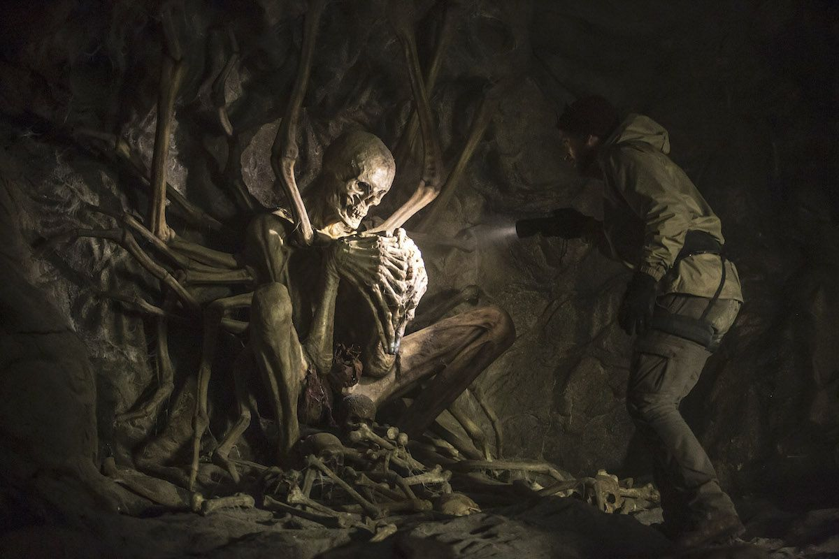 Greg (Evan Jonigkeit) discovers a giant transmogrified skeleton in The Empty Man