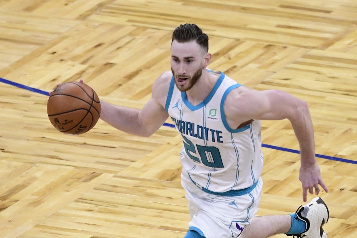 Gordon Hayward of the Charlotte Hornets dribbles the ball during the fourth quarter against the Orlando Magic at Amway Center on January 24, 2021 in Orlando, Florida.