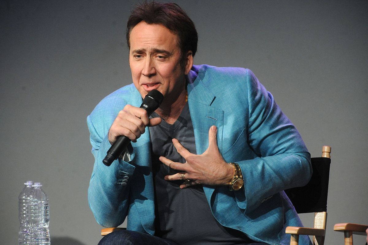 """Nic Cage promotes his latest movie, """"Joe,"""" on April 10, 2014 at the Apple Store Soho."""
