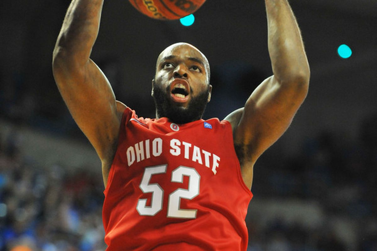 GAINESVILLE FL - NOVEMBER 16: Forward Dallas Lauderdale #52  of the Ohio State Buckeyes scores against the Florida Gators November 16 2010 at the Stephen C. O'Connell Center in Gainesville Florida.  (Photo by Al Messerschmidt/Getty Images)
