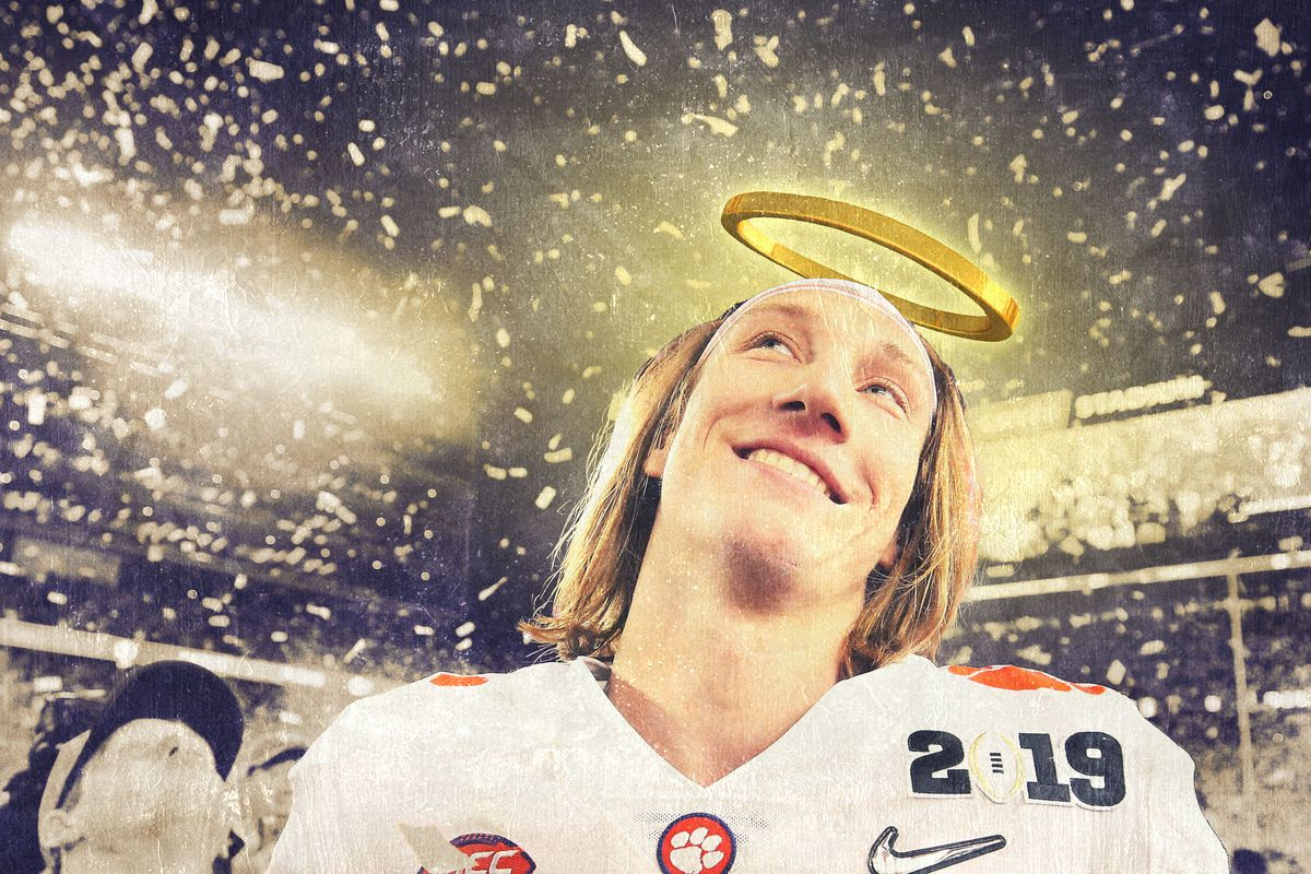 Clemson quarterback Trevor Lawrence with a halo above his head