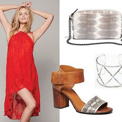 """<span class=""""credit"""">Love You Madly dress, <a href=""""http://www.freepeople.com/whats-new/love-you-madly-dress/"""">Free People</a>, $192; Loeffler Randall pouchette, <a href=""""https://www.madewell.com/madewell_category/BAGS/clutches/PRDOVR~A3642/A3642.jsp?colo"""