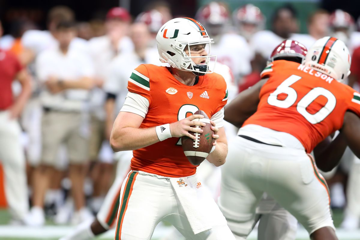 Miami Hurricanes quarterback Tyler Van Dyke during the Chick-Fil-A Kickoff Game between the Miami Hurricanes and the Alabama Crimson Tide on September 4, 2021 at Mercedes Benz Stadium in Atlanta, Georgia.