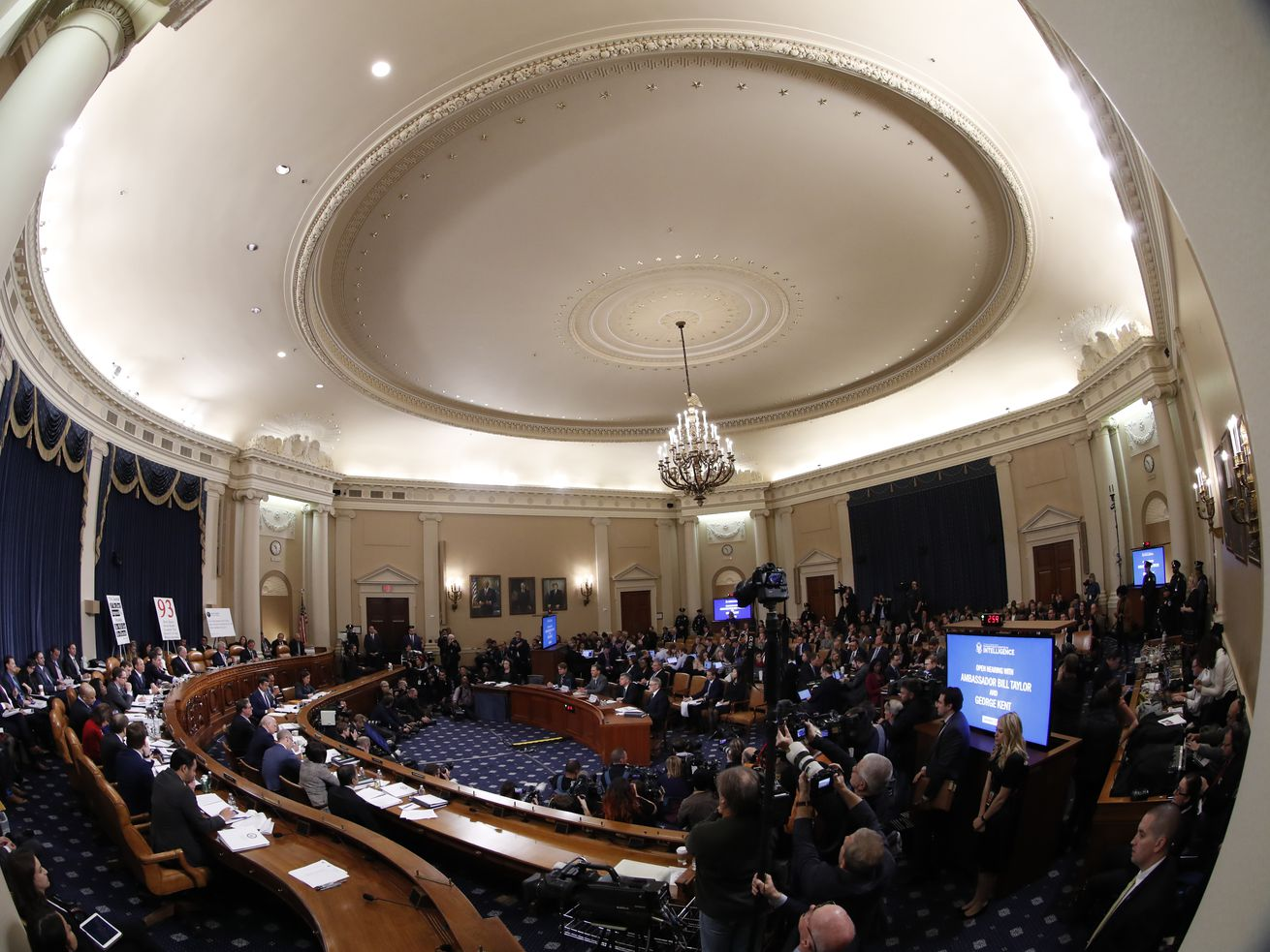 A photograph taken with a fish-eye lens of the House Permanent Select Committee on Intelligence's hearing.