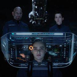 "From left, Ben Kingsley, Hailee Steinfeld and Asa Butterfield star in ""Ender's Game."""