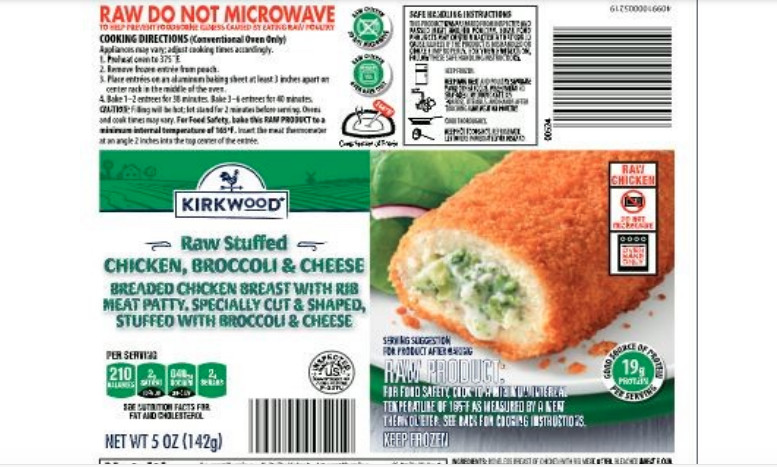 Five products are included in the chicken recall under three brand names: Dutch Farms Chicken, Milford Valley Chicken and Kirkwood, which is an Aldi store brand.