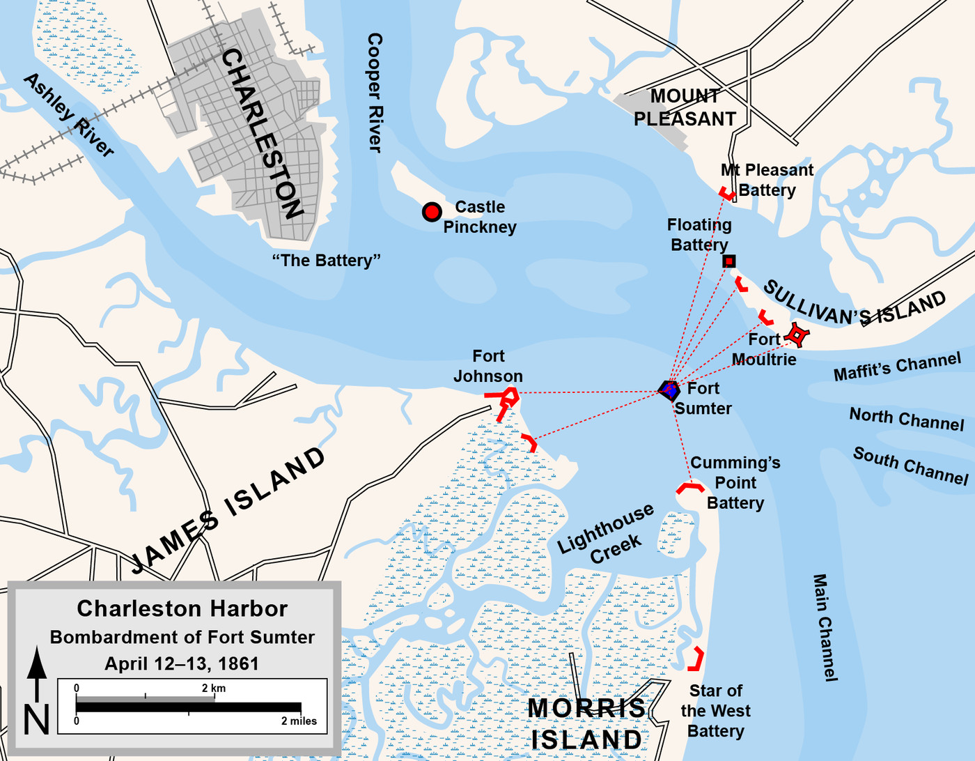 Bombardment of Fort Sumter 1861 Wall Poster Civil War Map Charleston Harbor S.C