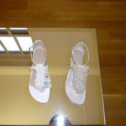 Rowena-SA satin with mesh flat sandal ($295)