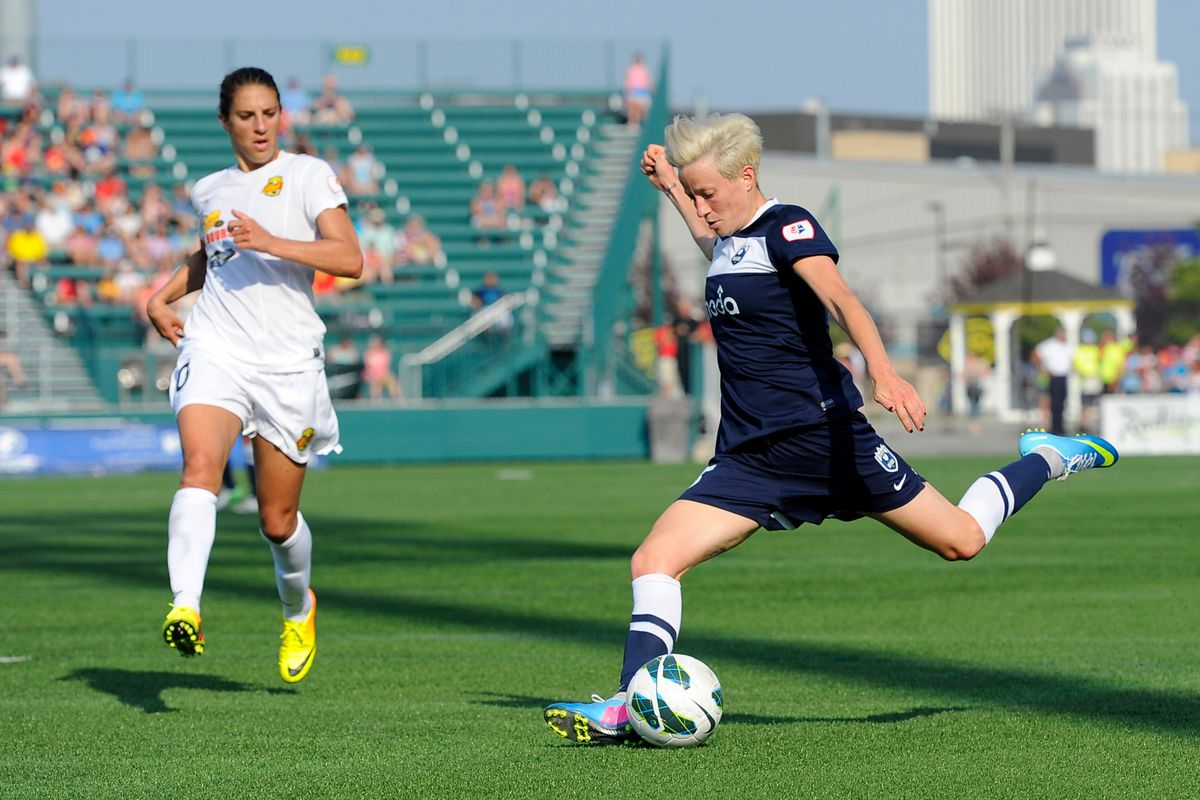 Boston's back line will contend with Sydney Leroux, Megan Rapinoe (above) and Seattle's prolific attack