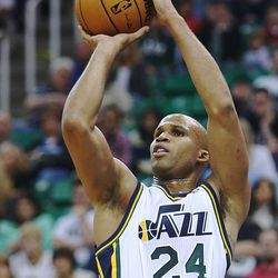 Utah Jazz's small forward Richard Jefferson (24) puts in a shot as the Jazz and the Rockets play Saturday, Nov. 2, 2013 in Energy Solutions arena.