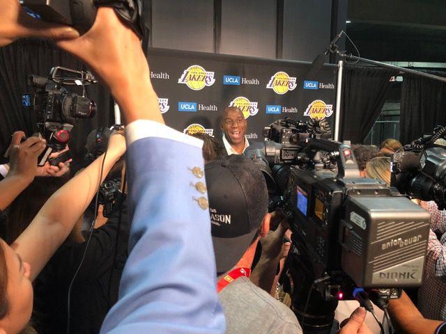Magic Johnson at a press conference