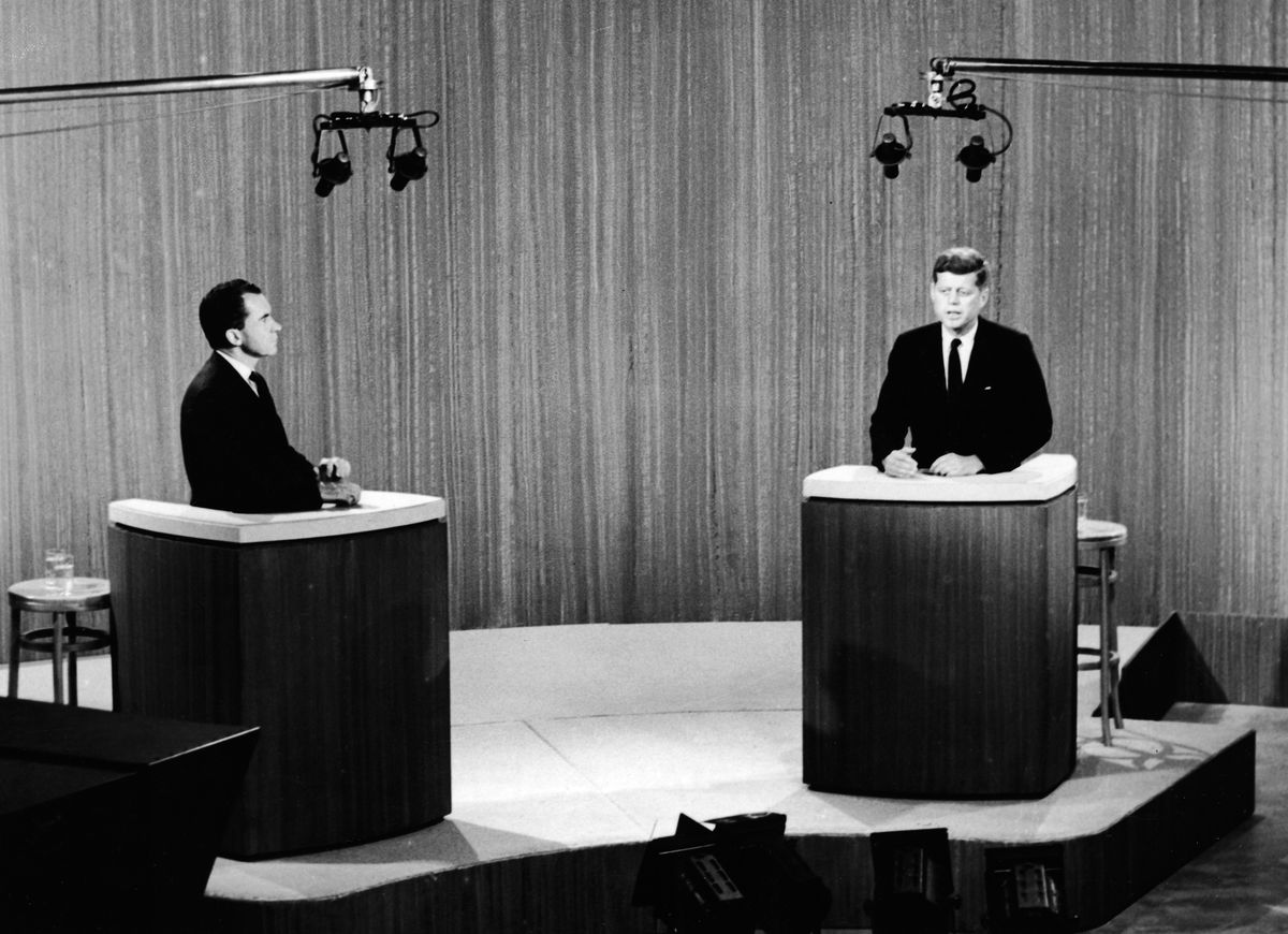 Richard Nixon and John F. Kennedy during the first televised presidential debate in 1960.