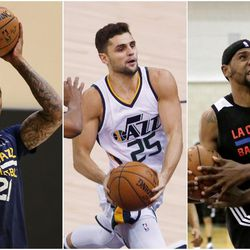 From left, Joel Bolomboy, Raul Neto and Royce O'Neale are among the most likely candidates for the Utah Jazz to cut before the season begins in October.