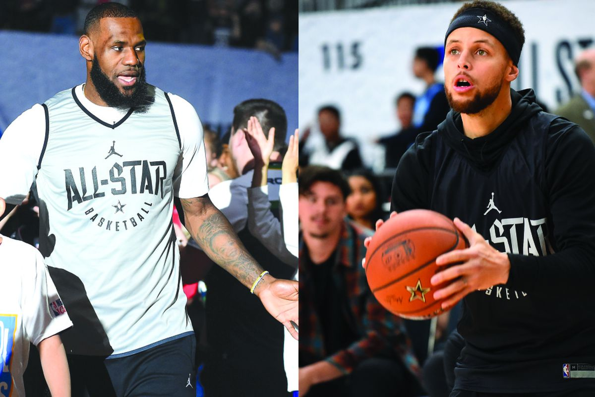1a758308 All-Star game captains LeBron James (left) and Stephen Curry. | Jayne  Kamin-Oncea/Getty Images