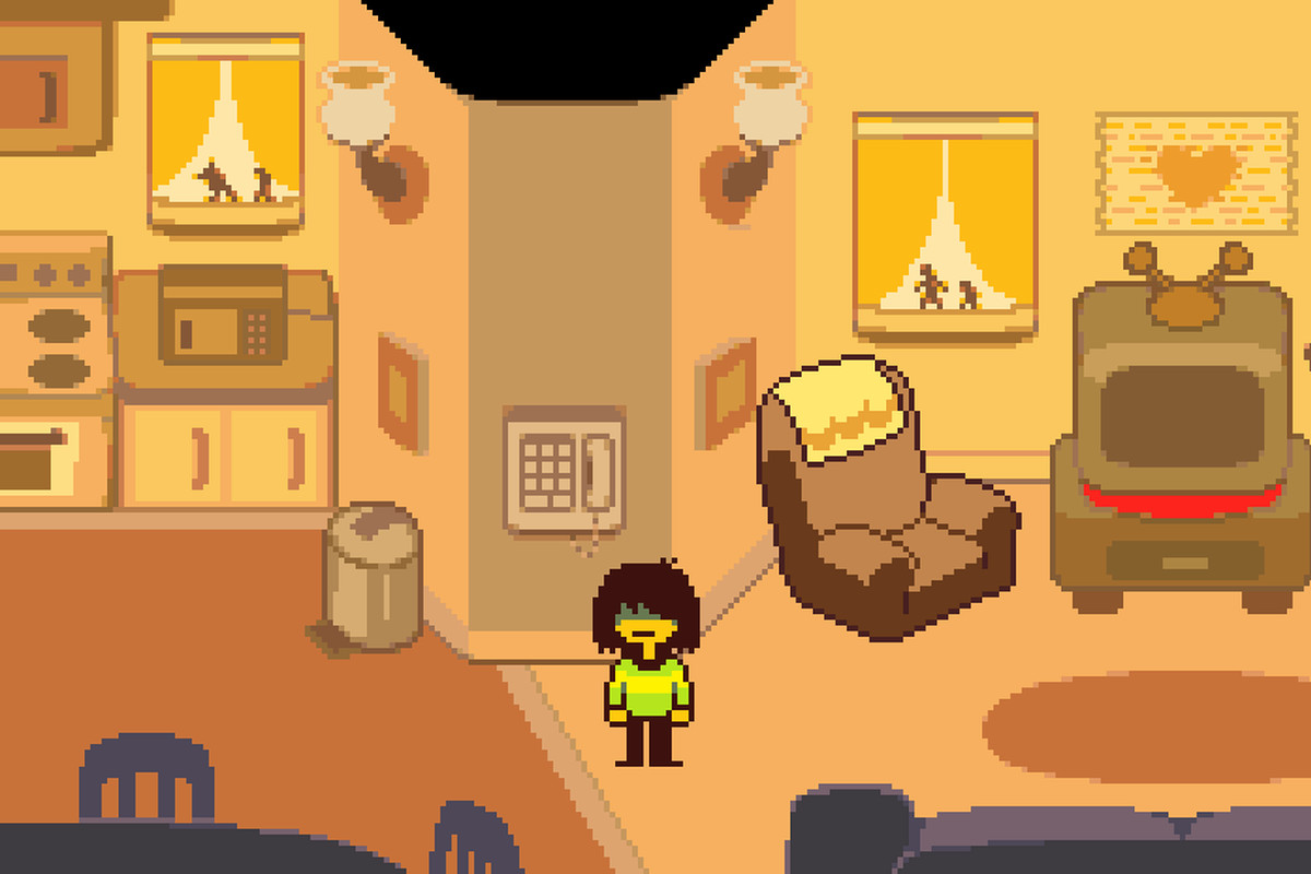 a younger person standing in a yellow colored living room in deltarune
