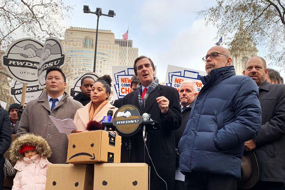Senator Michael Gianaris at an anti-Amazon rally in front of City Hall.