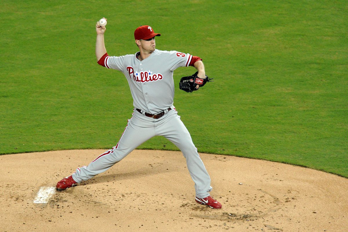 """Kyle Kendrick, being aggressive. Well, """"aggressive.""""  Mandatory Credit: Steve Mitchell-US PRESSWIRE"""
