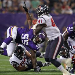 Aug 9, 2013; Minneapolis, MN, USA; Minnesota Vikings defensive tackle Sharrif Floyd (95) is injured on this play during the second quarter against the Houston Texans at the Metrodome.