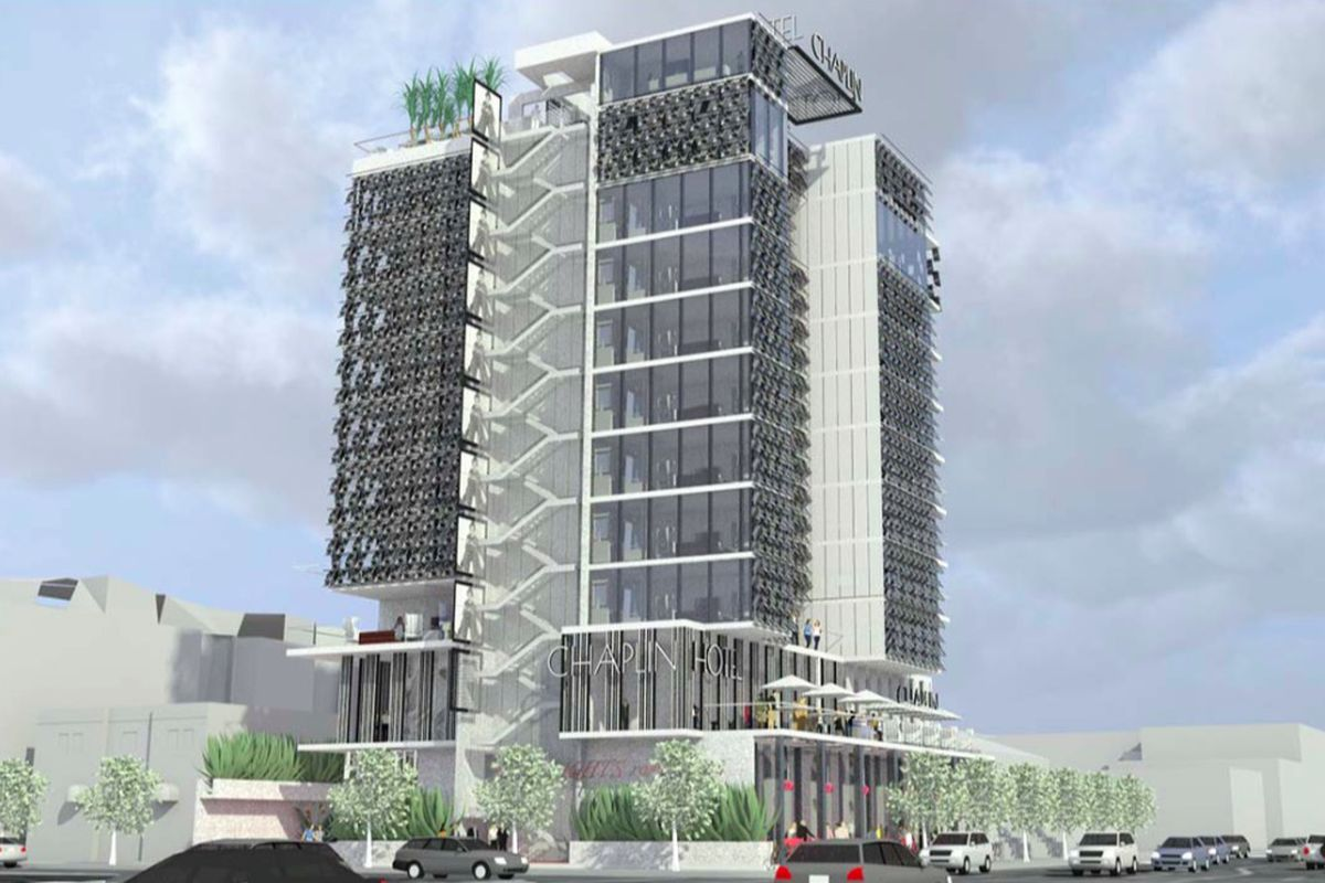 Rendering of hotel from across the street