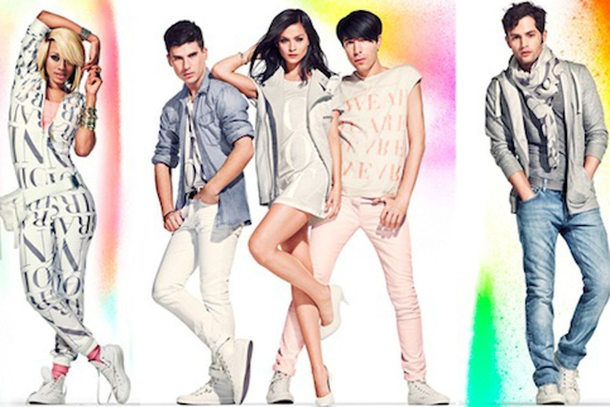 """Pastel overload alert: at least it's for a good cause. Just a few of the stars who signed up for H&amp;M's Fashion Again Aids. Image via <a href=""""http://www.nitrolicious.com/blog/2011/03/31/hm-fashion-against-aids-star-studded-ad-campaign/"""">Nitrolic"""