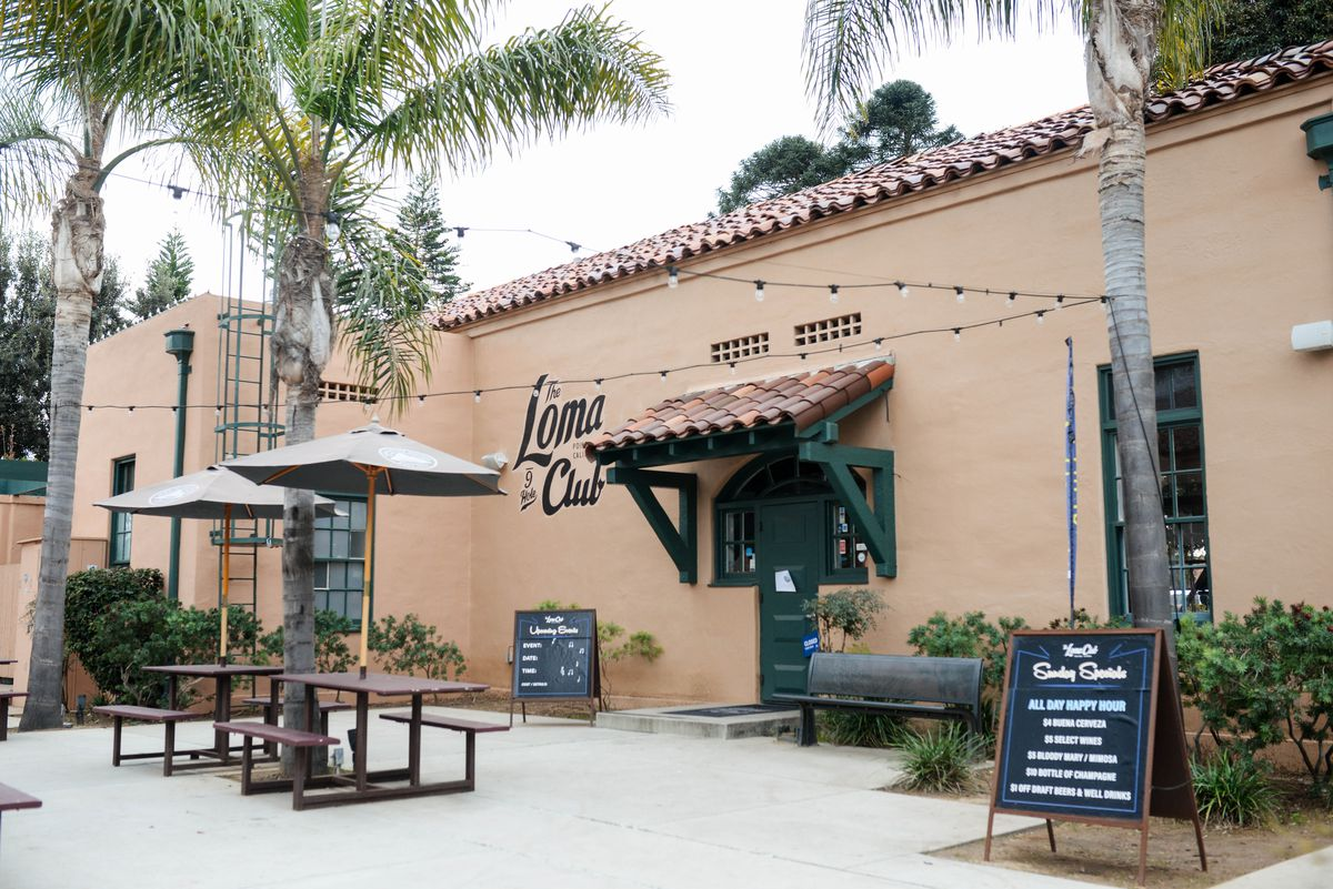 Patio and exterior of The Loma Club