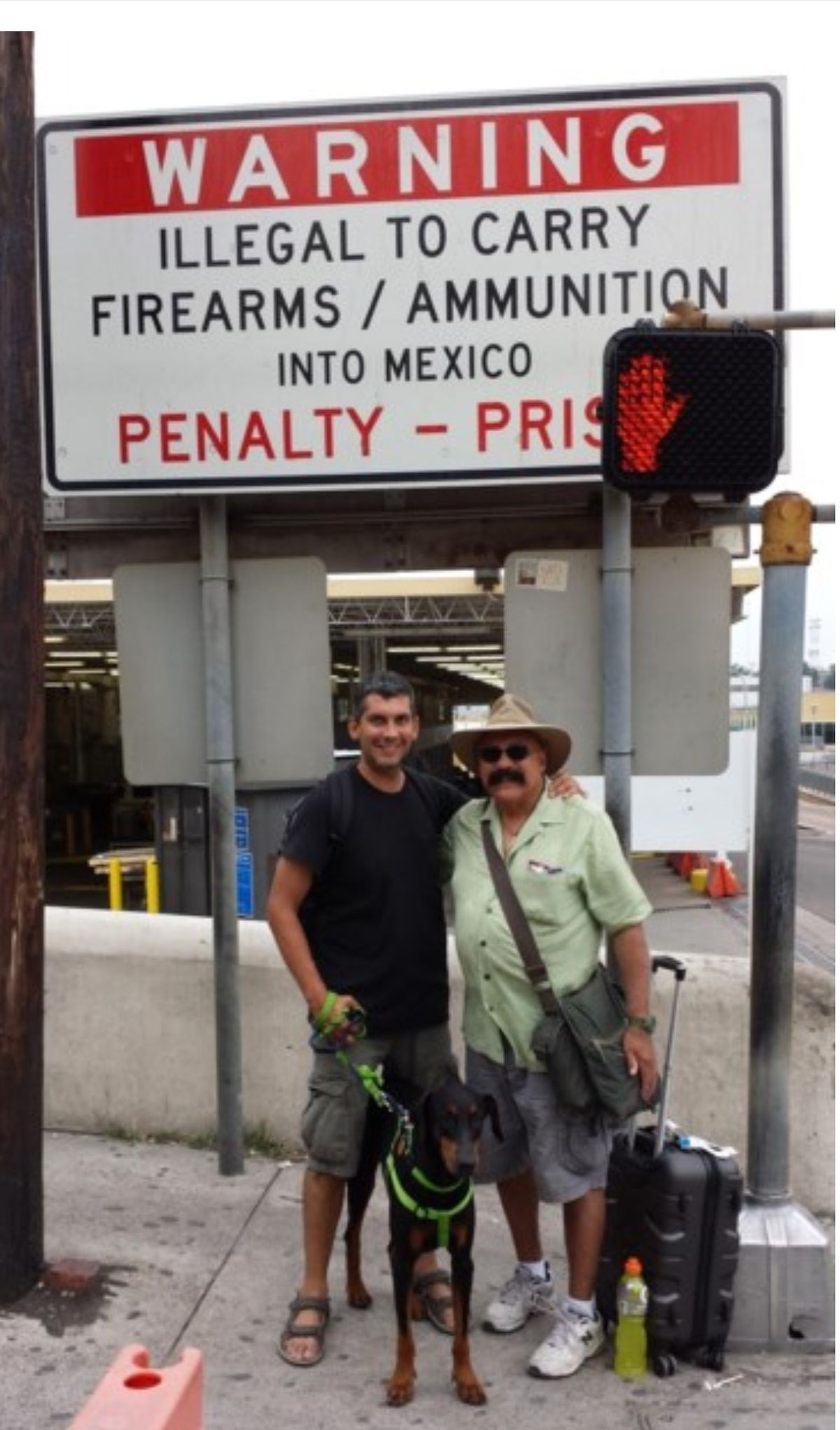 The Garrridos as they crossed the Mexican border into the United States with rescue dog Pedro.