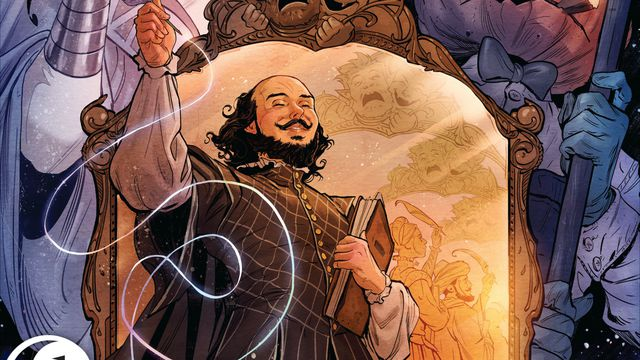 William Shakespeare lifts his quill in front of a mirror that shows an endless line of different reflections, on the cover of The Dreaming: Waking Hours, DC Comics (2020).