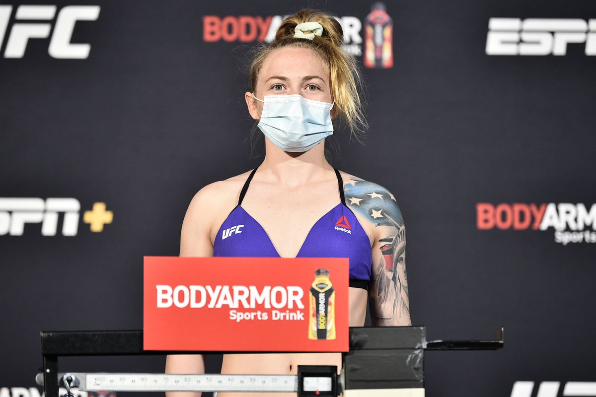 Kay Hansen poses on the scale during the UFC weigh-in at UFC APEX on June 26, 2020 in Las Vegas, Nevada.