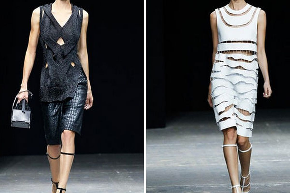 Two looks from Alexander Wang's spring 2013 runway show