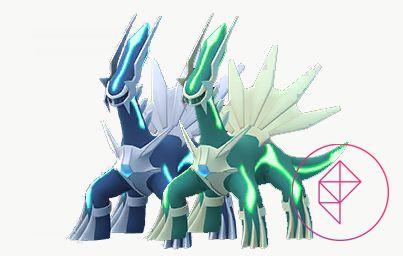Shiny and regular Dialga. Shiny Dialga is a teal green with bright green accents.