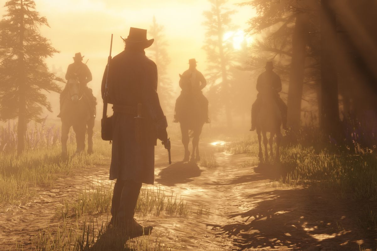 Red Dead Redemption 2 - a man standing across from three men on horseback at sunset in a forest clearing