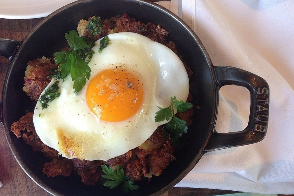 Corned Beef Cheek Hash with Fried Egg, Sherry Vinegar and Gremolata @ MB Post by nomsnotbombs
