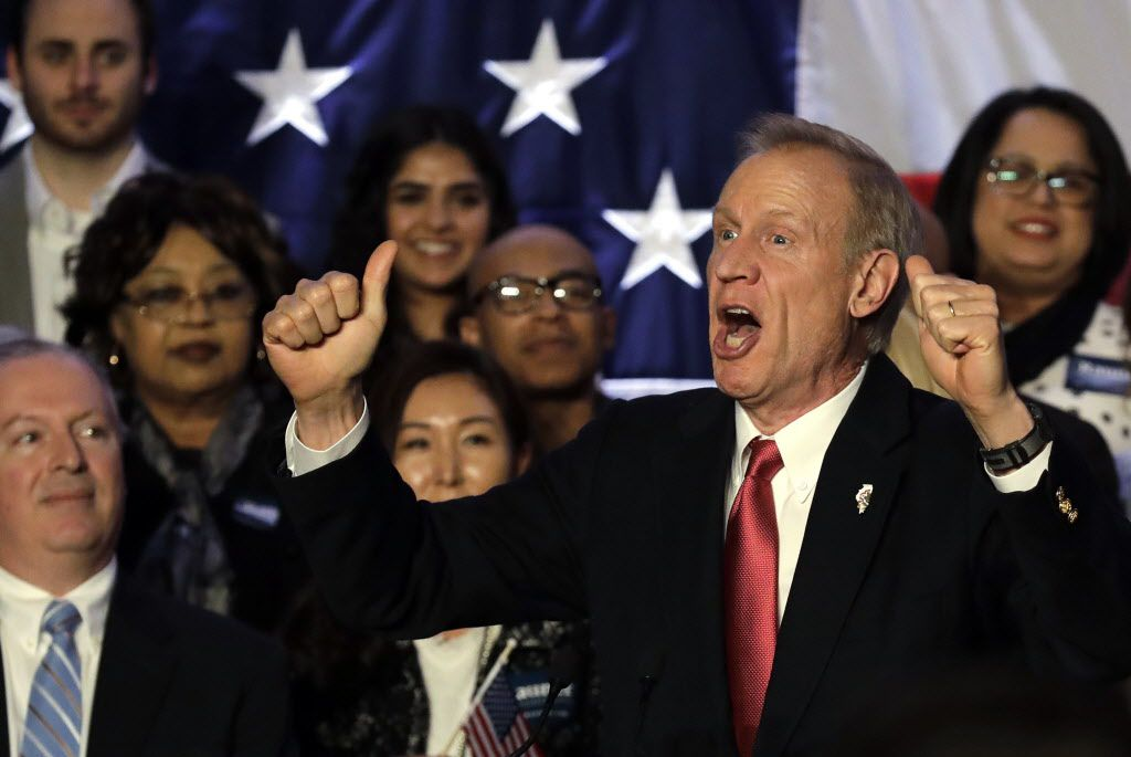 Gov. Bruce Rauner speaks to his supporters on primary election night, Tuesday, March 20, 2018, in Chicago. (AP File Photo/Nam Y. Huh)