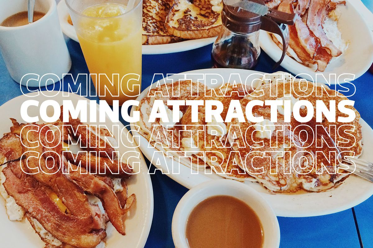 a stock photo of a breakfast restaurant with plates of bacon, pancakes, coffee, orange juice, and a syrup dispenser on a blue table with Coming Attractions written four times over the top