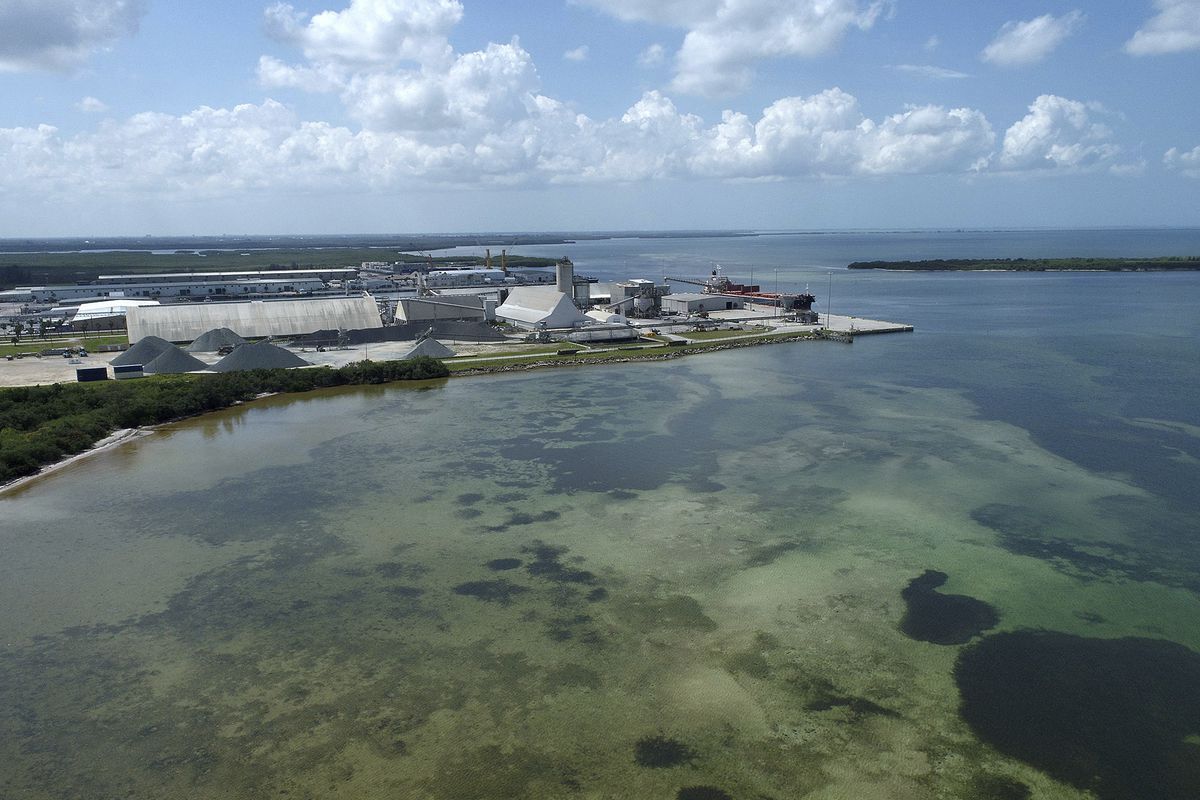 This photo taken by a drone shows the old Piney Point phosphate mine, Saturday, April 3, 2021 in Bradenton, Fla.