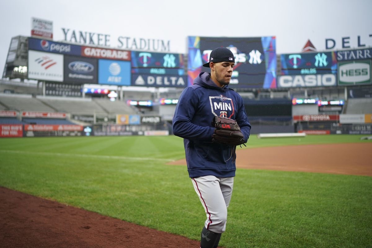 The Minnesota Twins practice and talk to the press at Yankee Stadium