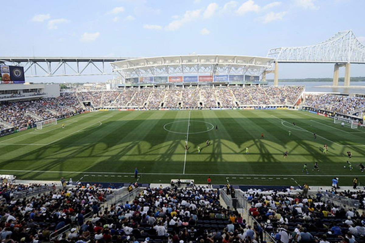 CHESTER, PA - JUNE 27:  A general view of PPL Park is seen as  the Philadelphia Union play the Seattle Sounders FC at the PPL Park stadium opener on June 27, 2010 in Chester, Pennsylvania.  (Photo by Jeff Zelevansky/Getty Images)