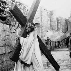 """This 1965 file photo shows actor Max von Sydow as Jesus and John Wayne as the converted centurion in a scene from """"The Greatest Story Ever Told."""""""