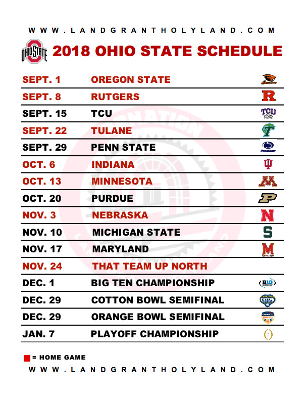 Genius image inside ohio state football schedule printable