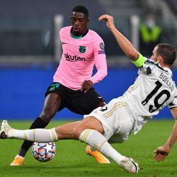 Dembele takes on Bonucci