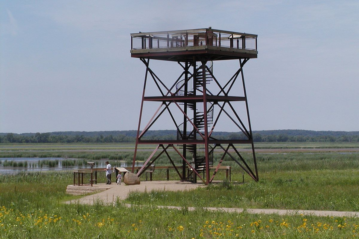 File photo of the iconic viewing tower at Dixon Waterfowl Refuge (Hennepin-Hopper Lakes). Credit: Dale Bowman