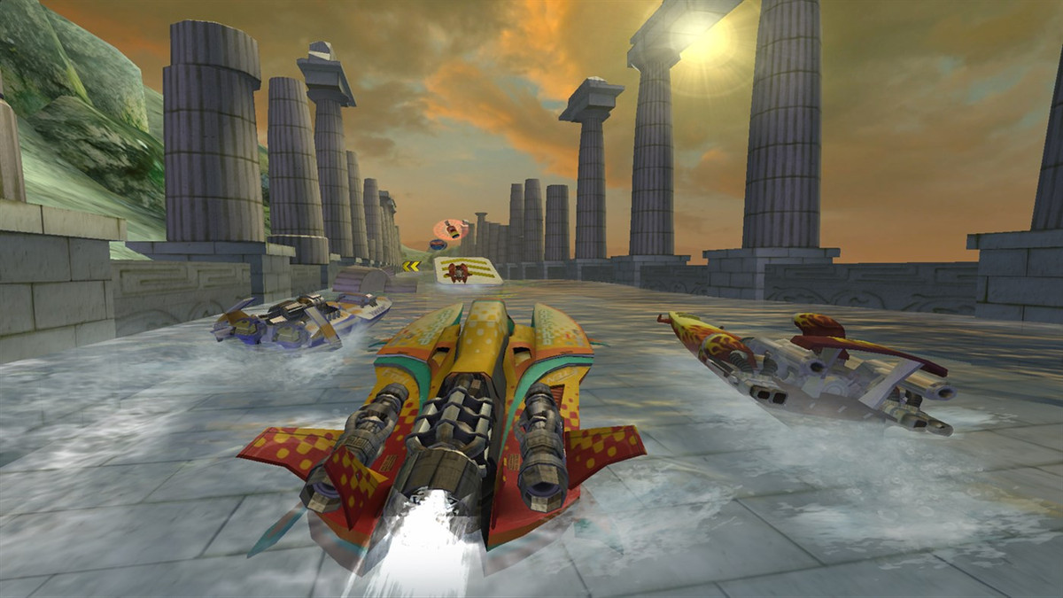 racing along a channel between Doric columns in Hydro Thunder Hurricane