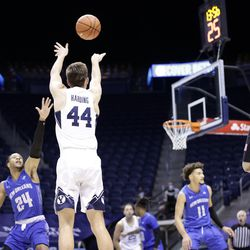 BYU's Connor Harding (44) fired a shot during the Cougars 86-61 win over the New Orleans Privateers at Provo's Marriott Center on Thursday November 26, 2020.