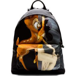 """One more deer, then we can move on: <b>Givenchy's</b> Bambi print lives on and on, now reincarnated in backpack form for <a href=""""https://www.ssense.com/men/product/givenchy/black-bambi-print-backpack/107942"""">$1,195</a>."""