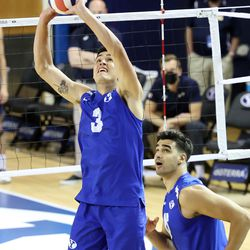BYU's Will Stanley sets the ball as teammate Felipe de Brito Ferreira runs underneath as BYU and Pepperdine play in the finals of the Mountain Pacific Sports Federation Championship, at the Smith Field House in Provo on Saturday, April 24, 2021. BYU won in straight sets.