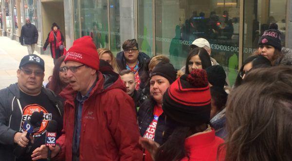 CTU President Jesse Sharkey speaks to reporters outside Chicago Public Schools headquarters on Feb. 27.